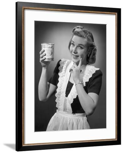 Housewife in Apron Holding a Can of Fruit-George Marks-Framed Art Print