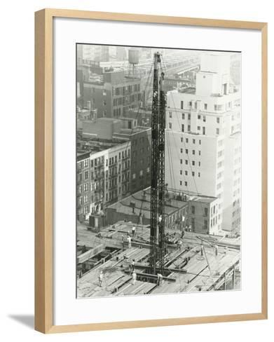 Workers on Building Site on Urban Setting, Elevated View-George Marks-Framed Art Print