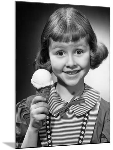 Portrait of Young Girl With Ice Cream Cone-George Marks-Mounted Photographic Print