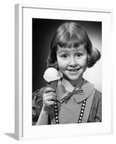 Portrait of Young Girl With Ice Cream Cone-George Marks-Framed Art Print
