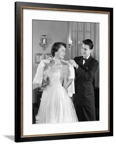 Girl in Prom Gown and Boy in Tux Putting Shawl Over Her Shoulders-H^ Armstrong Roberts-Framed Art Print