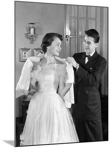 Girl in Prom Gown and Boy in Tux Putting Shawl Over Her Shoulders-H^ Armstrong Roberts-Mounted Photographic Print