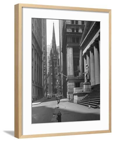 View Up Wall St. of Trinity Church, New York-George Marks-Framed Art Print