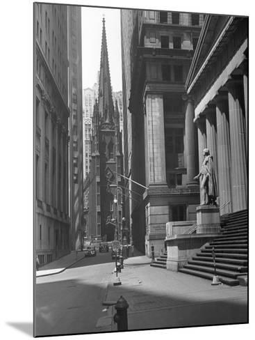 View Up Wall St. of Trinity Church, New York-George Marks-Mounted Photographic Print