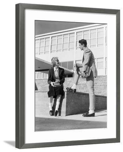 High School Boy and Girl Talking-H^ Armstrong Roberts-Framed Art Print