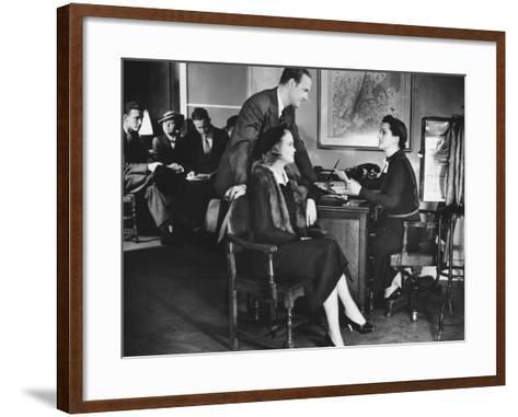 Couple Applying For Mortgage, Talking To Clerk-George Marks-Framed Art Print