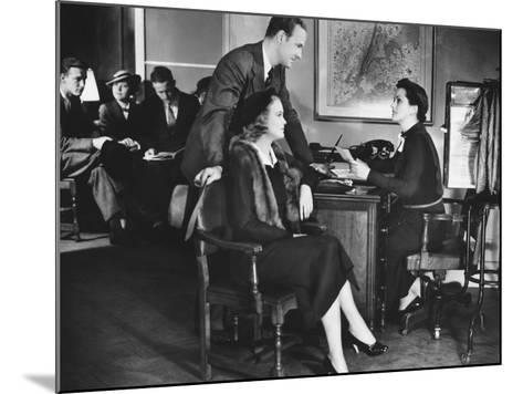 Couple Applying For Mortgage, Talking To Clerk-George Marks-Mounted Photographic Print