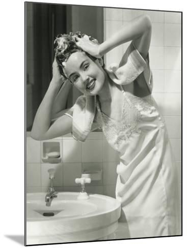 Portrait of Young Woman Washing Hair in Bathroom-George Marks-Mounted Photographic Print