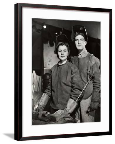 Couple in Ww Ii Defense Plant With Welding Gear-George Marks-Framed Art Print