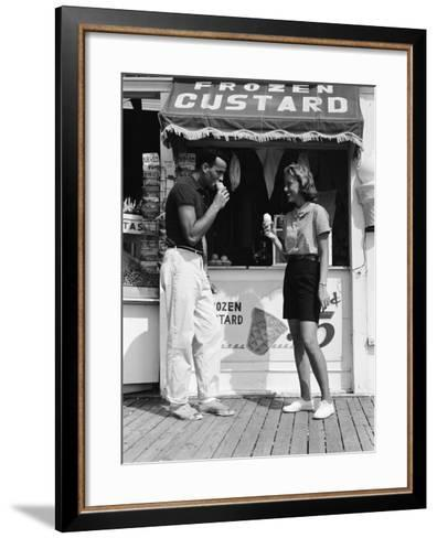 Couple Walking Along Boardwalk in Summer-H^ Armstrong Roberts-Framed Art Print