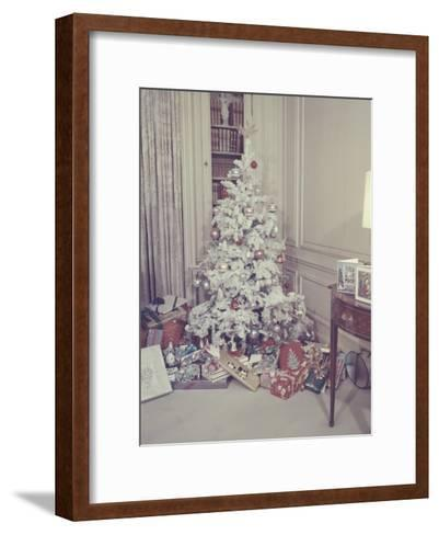Christmas Tree and Gifts in Living Room-George Marks-Framed Art Print