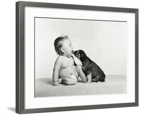 Baby and Dog-H^ Armstrong Roberts-Framed Art Print