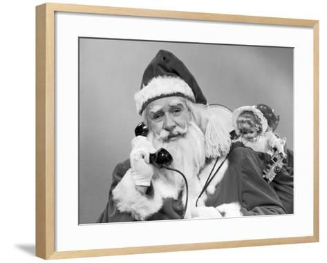 Santa Claus on the Telephone With His Sack of Toys-H^ Armstrong Roberts-Framed Art Print