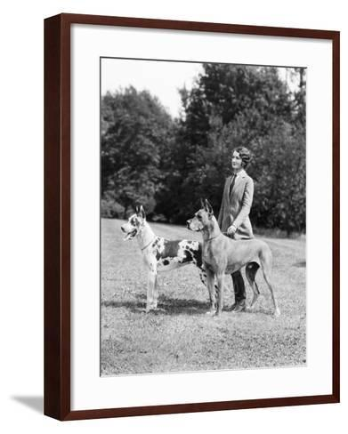 Young Woman, Two Great Dane Dogs on a Leash-H^ Armstrong Roberts-Framed Art Print