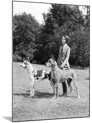Young Woman, Two Great Dane Dogs on a Leash-H^ Armstrong Roberts-Mounted Photographic Print