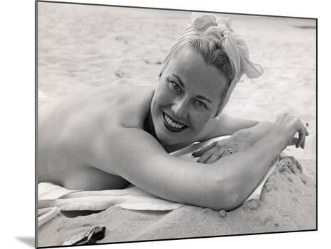 Woman Sunning and Smoking at Beach-George Marks-Mounted Photographic Print