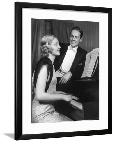 Man Admiring Woman Playing Piano-George Marks-Framed Art Print