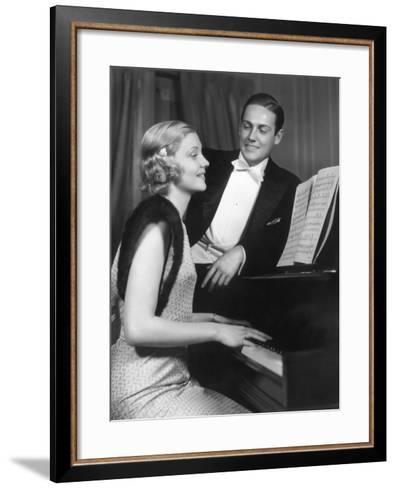 Man Admiring Woman Playing Piano-George Marks-Framed Art Print
