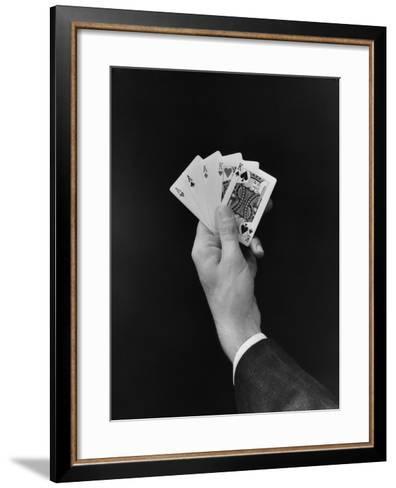Man's Hand Holding 'Full House' Poker Card Hand-H^ Armstrong Roberts-Framed Art Print