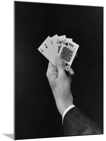 Man's Hand Holding 'Full House' Poker Card Hand-H^ Armstrong Roberts-Mounted Photographic Print