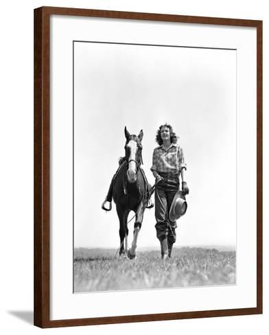 Woman Walking Beside Horse Holding Cowboy Hat in Gloved Hand-H^ Armstrong Roberts-Framed Art Print