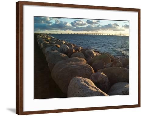 Rocks by the Sea at Oresund, the Oresund Bridge in Background--Framed Art Print