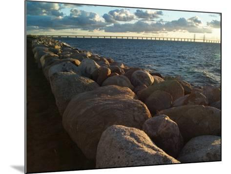 Rocks by the Sea at Oresund, the Oresund Bridge in Background--Mounted Photographic Print