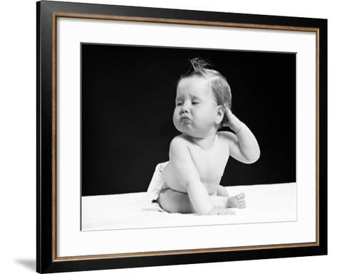 Baby Sitting With One Hand on Ear, Pouting, Portrait-H^ Armstrong Roberts-Framed Art Print