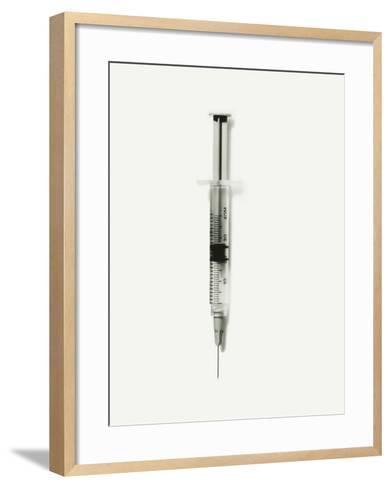 Hypodermic Syringe With Needle Against White Background, Close-Up-George Marks-Framed Art Print