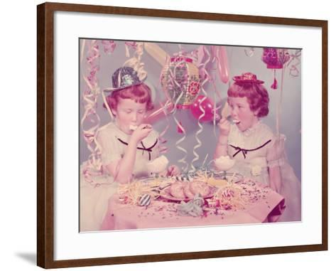 Twins Eating Ice Cream at Birthday Party-H^ Armstrong Roberts-Framed Art Print