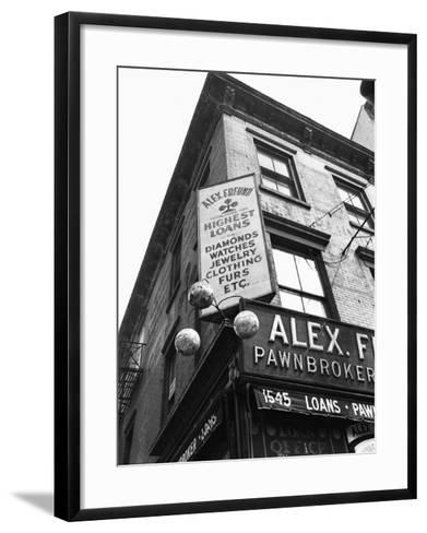 Comerical Sign at Building Corner, Low Angle View-George Marks-Framed Art Print