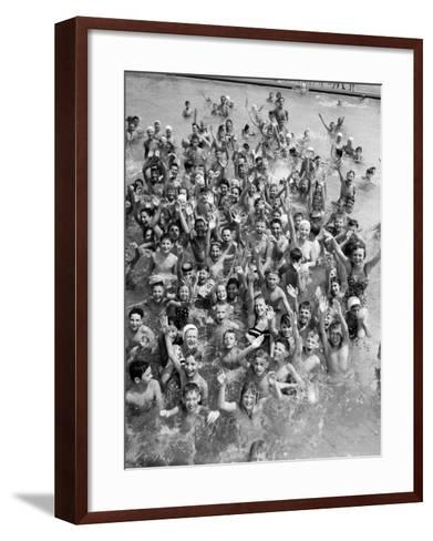 Group of Children in Swimming Pool, Waving, Portrait-H^ Armstrong Roberts-Framed Art Print