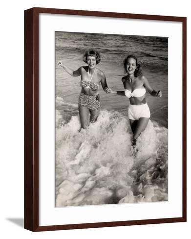 Women Playing in the Surf at the Beach-George Marks-Framed Art Print