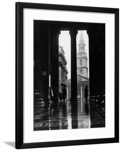Sheltering From Rain--Framed Art Print