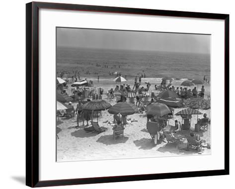 People Relaxing on Beach, Elevated View-George Marks-Framed Art Print
