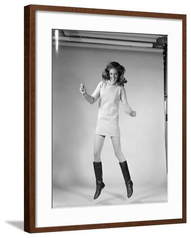 Woman Dancer in Mini-Dress and Black Go-Go Boots Jumping in Air-H^ Armstrong Roberts-Framed Art Print