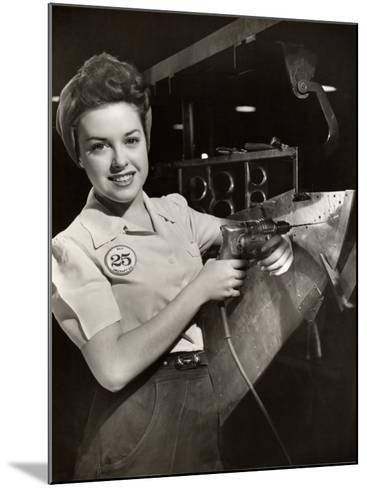 Woman Working on Aircraft Assembly Line-George Marks-Mounted Photographic Print