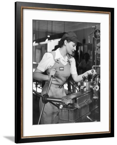 Woman Defense Worker Operating Machinery-George Marks-Framed Art Print