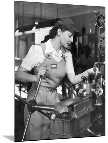 Woman Defense Worker Operating Machinery-George Marks-Mounted Photographic Print