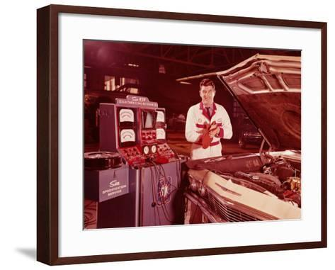 Mechanic in Service Station, Testing Car Engine-H^ Armstrong Roberts-Framed Art Print