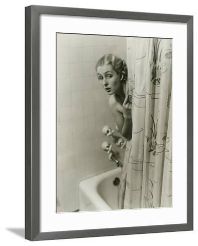Woman Peeking From Behind Shower Curtain-George Marks-Framed Art Print