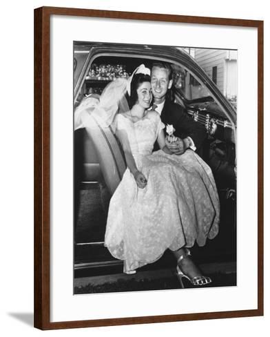 Bride and Groom Posing in Car, Portrait-George Marks-Framed Art Print