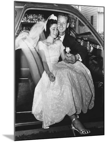 Bride and Groom Posing in Car, Portrait-George Marks-Mounted Photographic Print