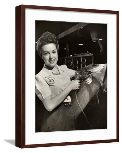 Woman Working on Aircraft Assembly Line-George Marks-Framed Art Print