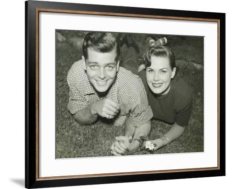 Young Couple Lying in Field, Portrait-George Marks-Framed Art Print