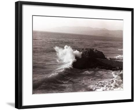 Sea Waves Crashing Against Rock-George Marks-Framed Art Print