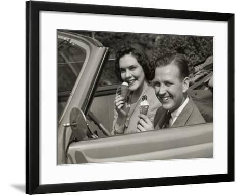 Couple Eating Ice Cream in Car-George Marks-Framed Art Print