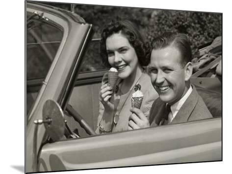 Couple Eating Ice Cream in Car-George Marks-Mounted Photographic Print