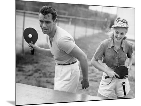 Couple Playing Ping Pong-George Marks-Mounted Photographic Print