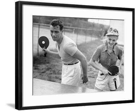 Couple Playing Ping Pong-George Marks-Framed Art Print